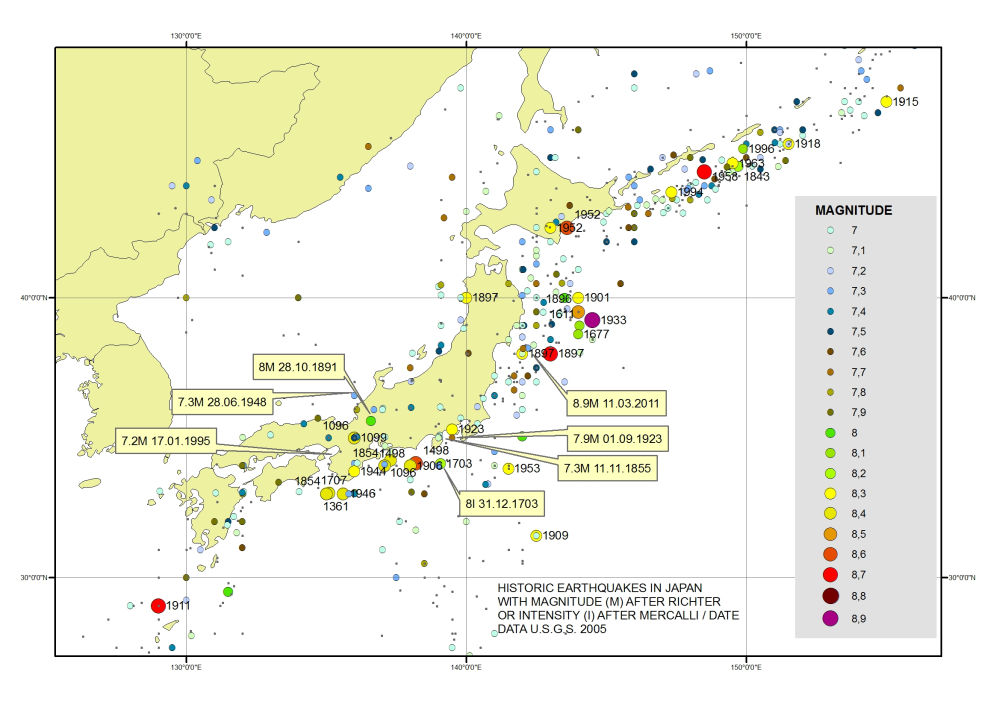 History Of Geology Historic Earthquakes In Japan - Japan map 1600