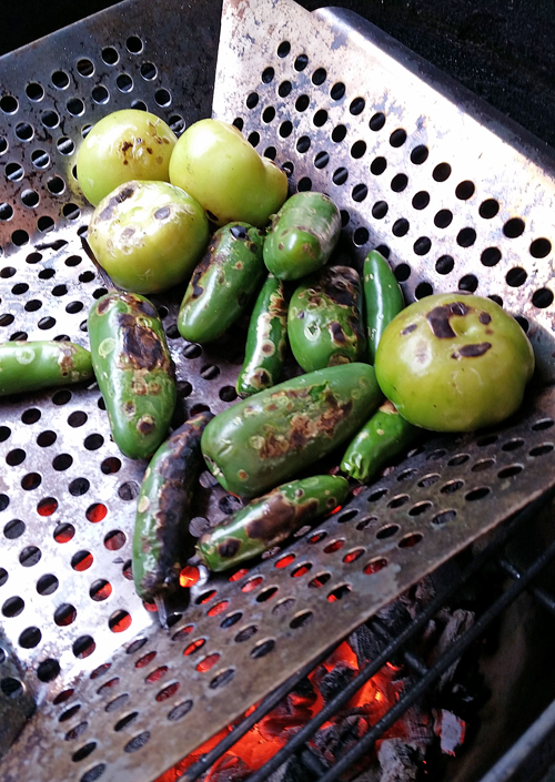 grilled tomatillos, grilled salsa, how to grill vegetables