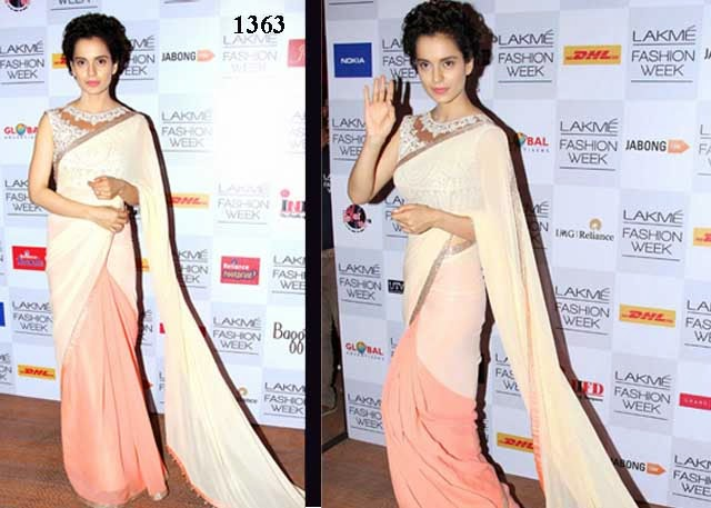 1363-Bollywood Actress Kangna Ranaut beautiful in half and half plain georgette saree