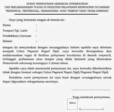 Contoh Surat Pernyataan Bersedia Ditempatkan dan Melaksanakan Tugas