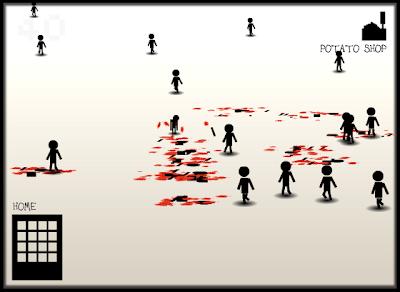 Captura de pantalla de otro minijuego, que consiste en ponerse delante de los monigotes para desmembrarlos.