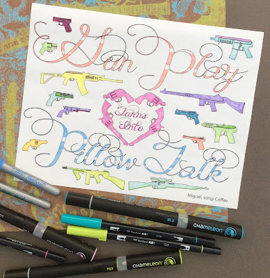 Gun Play Turns into Pillow Talk quote  adult coloring page stefanie girard