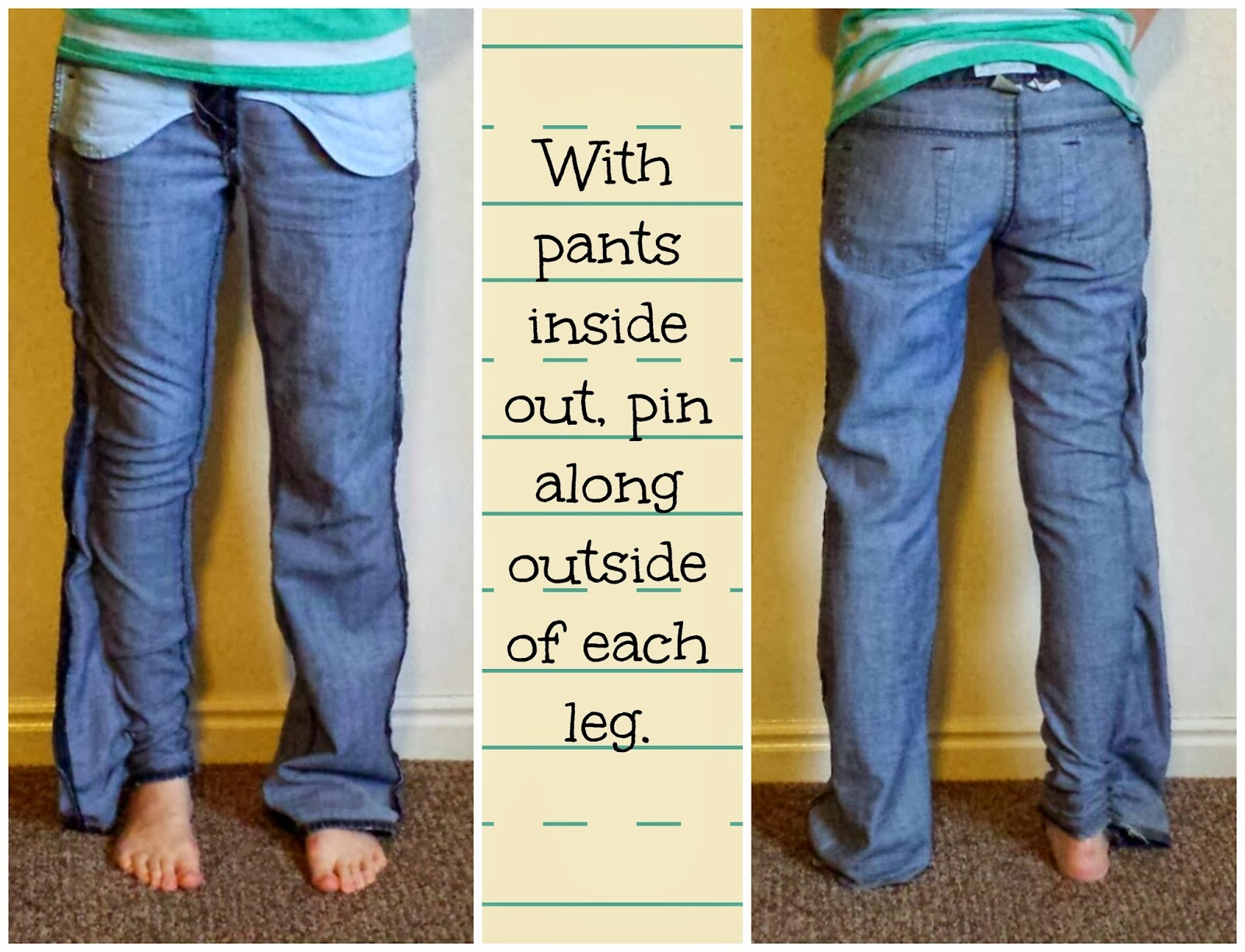 skinny jean refashion, flare to skinny jeans, diy skinny jeans, pants refashion