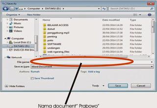 Menyimpan dan membuka document microsoft word