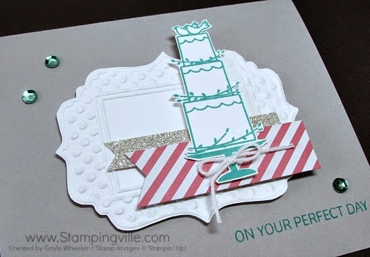 A dry embossed fancy frame, glitter paper, and sequins all add texture, dimension, and sparkle to this classy wedding card.