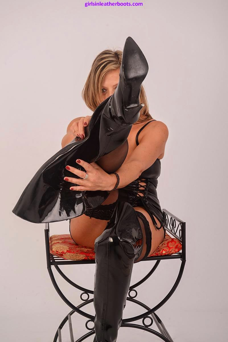 Black Leather Thigh Boots, Sexy Blonde's In Boots what more could you ask for