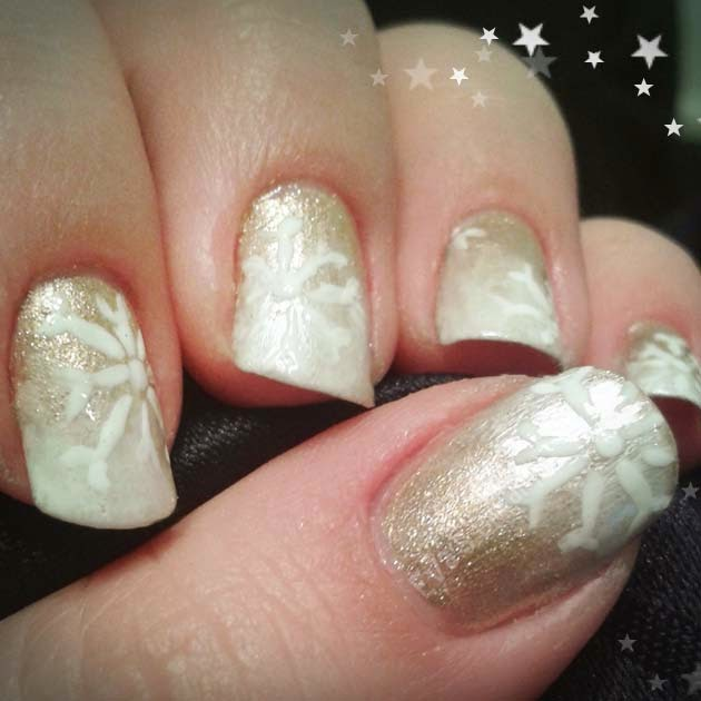 Nails of the week: Nail Design - goldenes Schneegestöber
