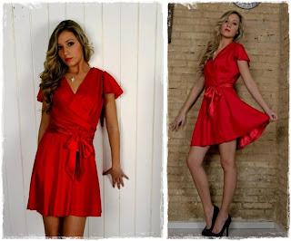 Vestido rojo con lazada Clés