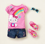 GAP GIRL 2PCS -PINK KITTY [Tee + Short Jeans]