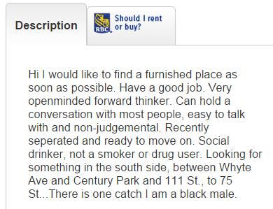 black male looking to rent via kijiji. post at exclusionandembrace.blogspot.com