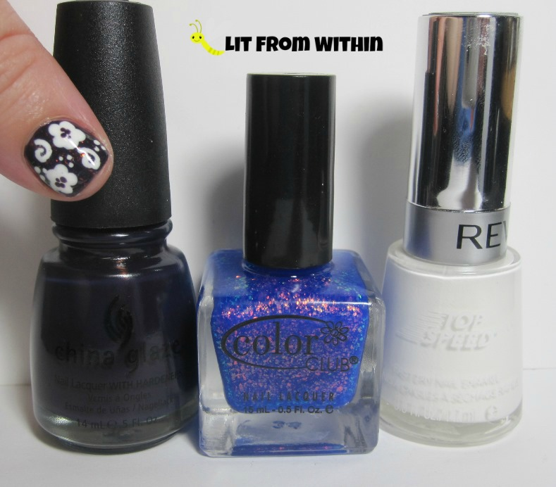Bottle shot:  China Glaze VIII, Color Club Violet Twilight, and Revlon Spirit