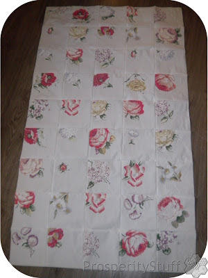 ProsperityStuff Window Quilt Top - made from floral sheet