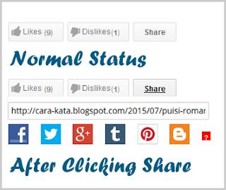 Cara Membuat Tombol Like, Dislike dan Share di Blogger