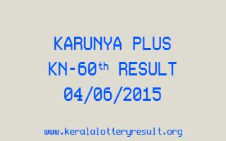 Karunya Plus KN 60 Lottery Result 4-6-2015