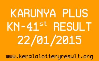 Karunya Plus Lottery KN-41 Result 22-01-2015