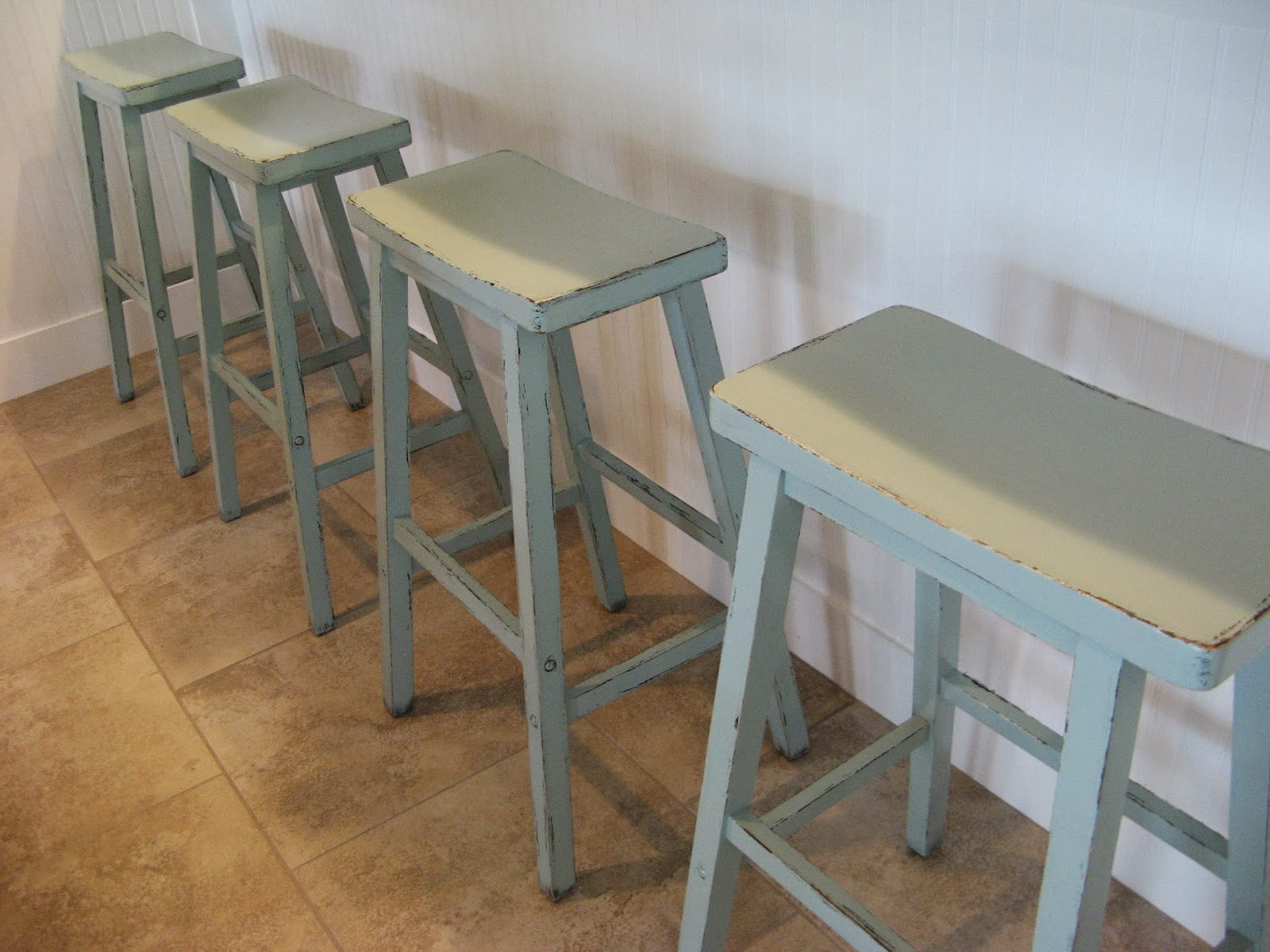 Bar Stools - Distressed Painted Candlewax Technique