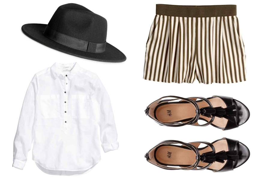 stylizacja z białą koszulą, stylizacja z szortami, stylizacja z kapeluszem, stylizacja z sandałkami gosiabaszak.com