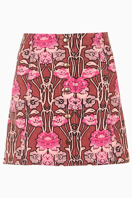 pink flower skirt, flower cord skirt, pink corduroy skirt,