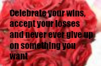 Celebrate your wins, accept your losses, and never ever give up on something you want
