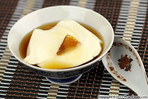 The dessert is a Vietnamese soy pudding with ginger syrup. Nothing ...