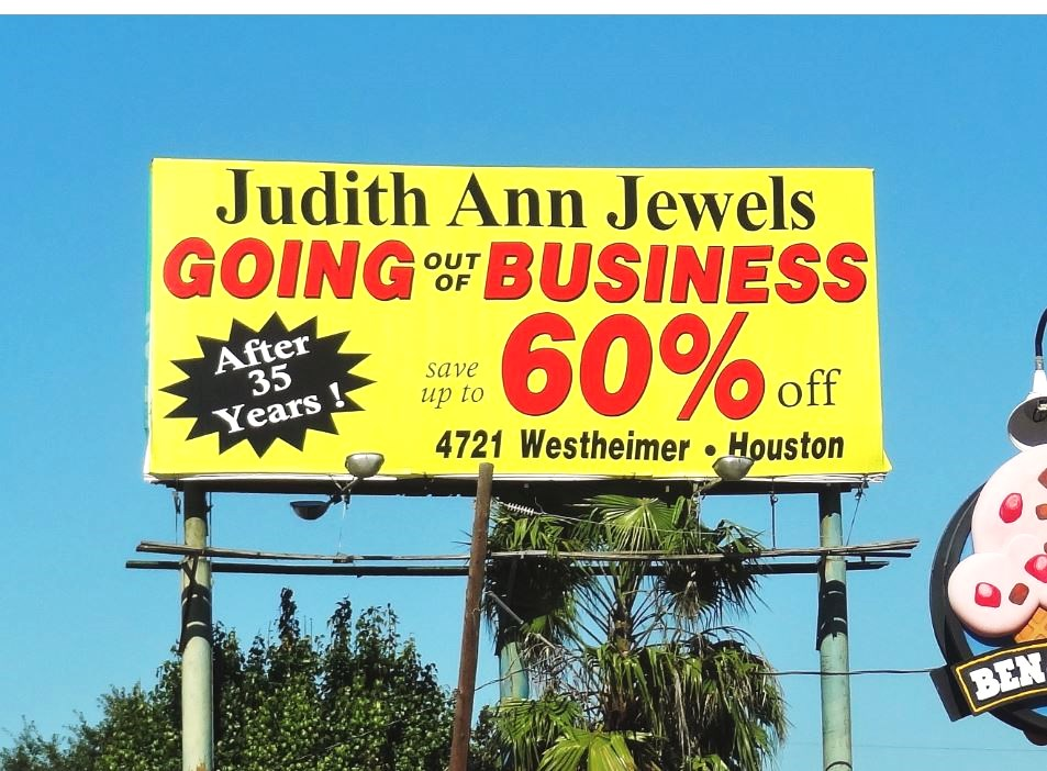 Judith ann jewelry store closing at uptown plaza across for Jewelry stores westheimer houston tx