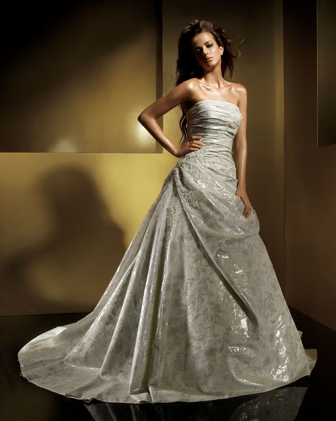 A wedding addict perfect light gold soft wedding dress for Silver and white wedding dresses