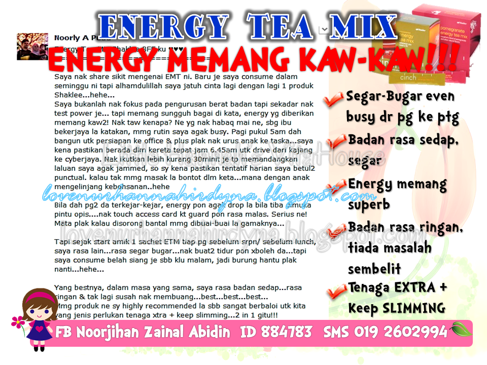 testimoni cinch energy tea mix shaklee