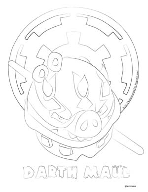 Angry Birds Star Wars Darth Maul Coloring Pages Pictures to Pin on