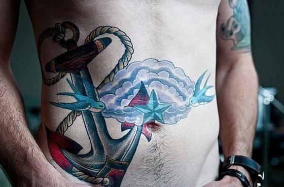 Tatuagem de Ancora E Andorinhas