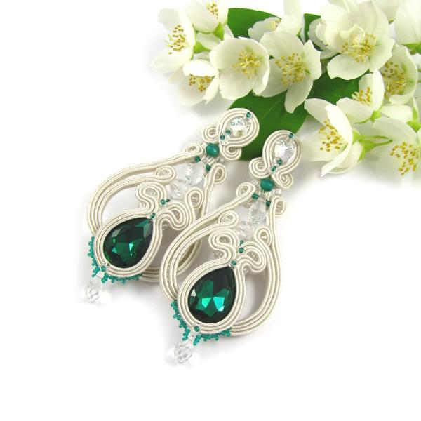 Kolczyki sutasz dla Panny Młodej, emerald, szmaragdowy