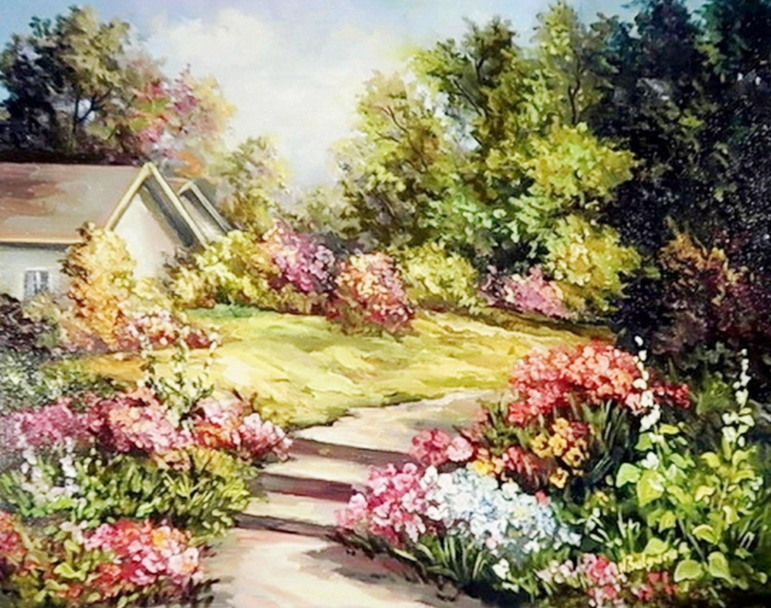 bonitos cuadros de paisajes con flores pintados al oleo el paisaje florido de rumania anca bulgaru