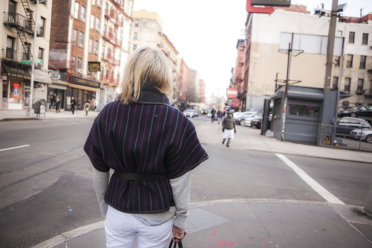 Fashion Over Reason in New York City, Suno poncho, white denim