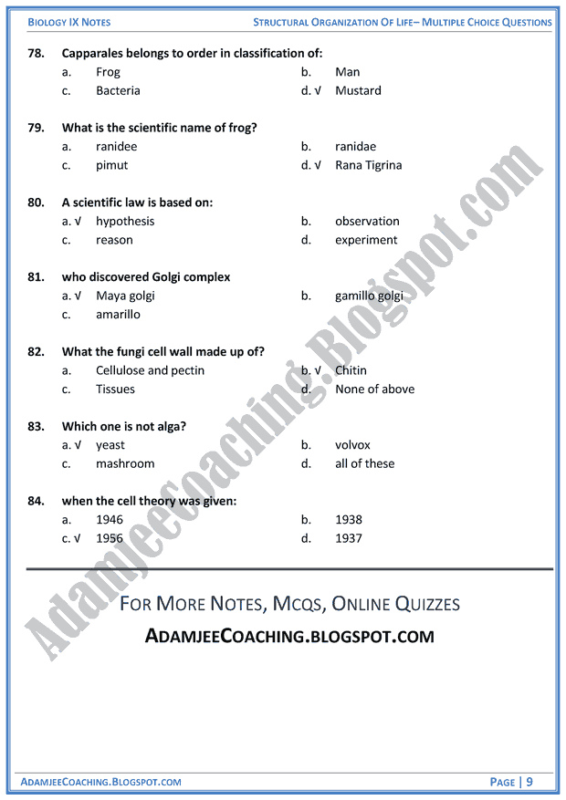 structural-organization-of-life-multiple-choice-questions-biology-notes-for-class-9th