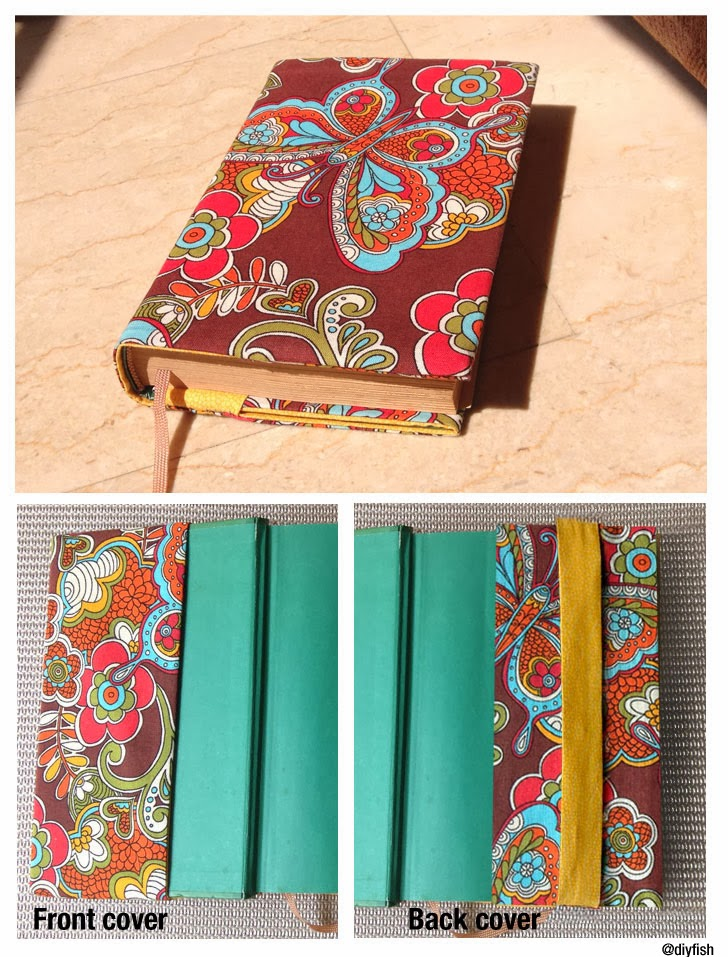 Sewing Book Cover : Tutorial no adjustable fabric book cover d i y