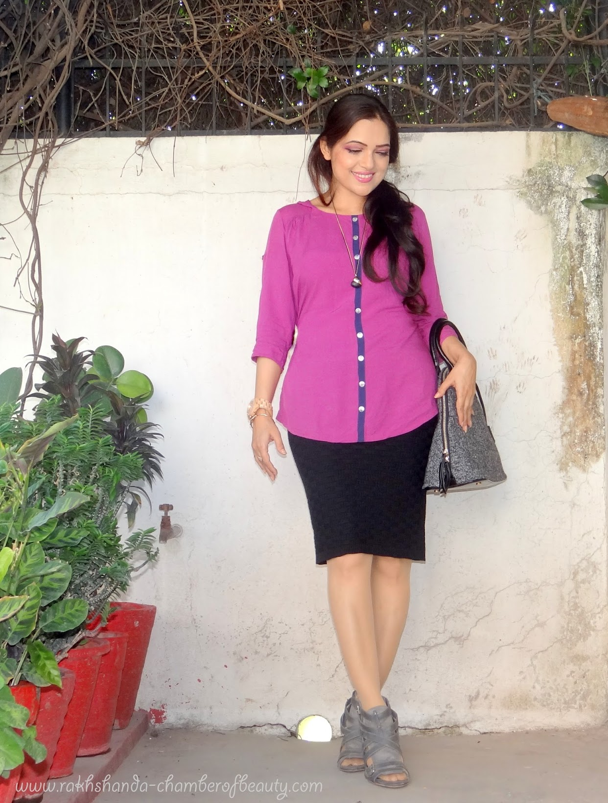 Orchid & Black | How to style a pencil skirt, fashion, OOTD, Outfit of the day, Qupid heels, Jord wood watches, Indian fashion blogger