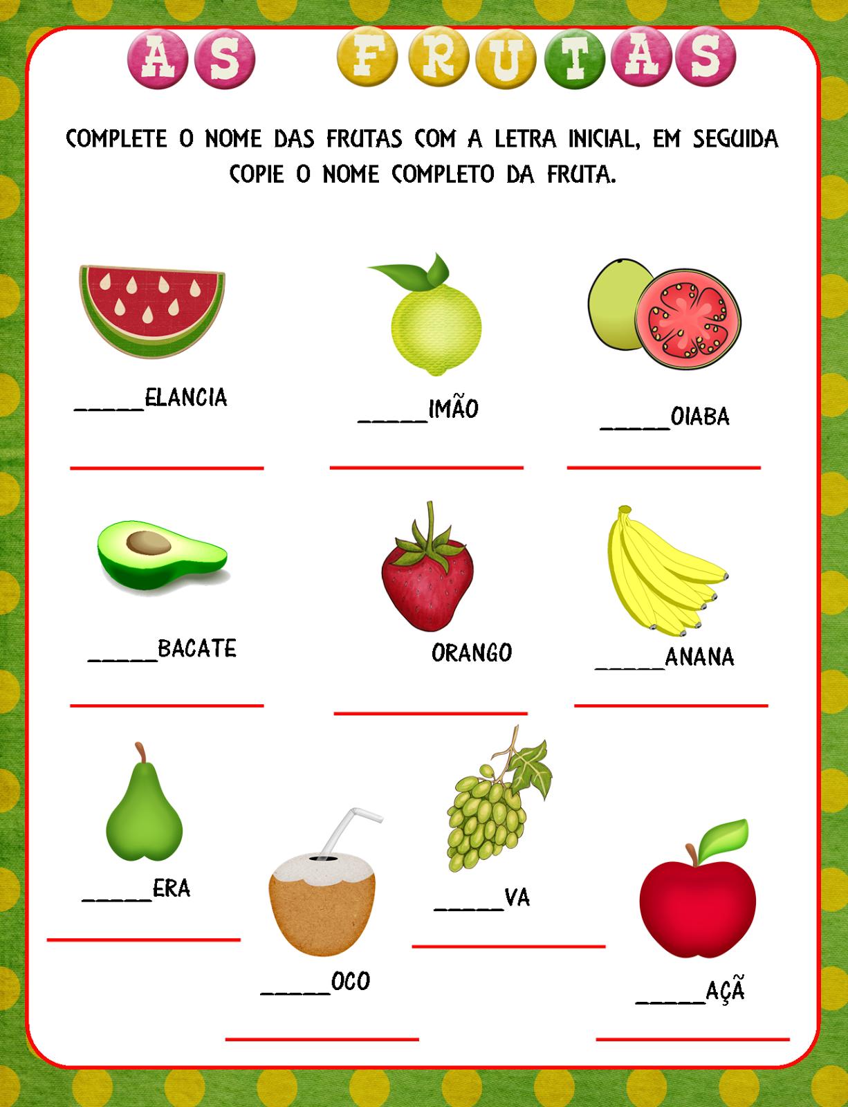 Notebook da Profª: Projeto As frutas