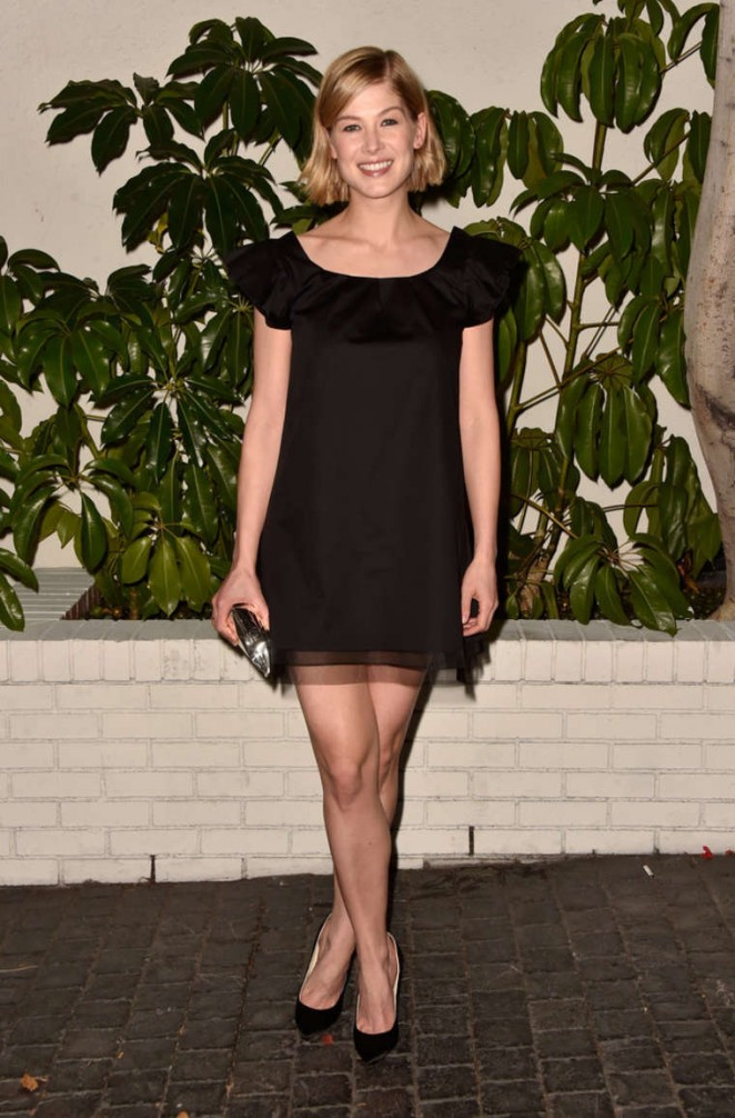 Rosamund Pike in a little black dress at W Magazine's 2015 Golden Globes Celebration in LA