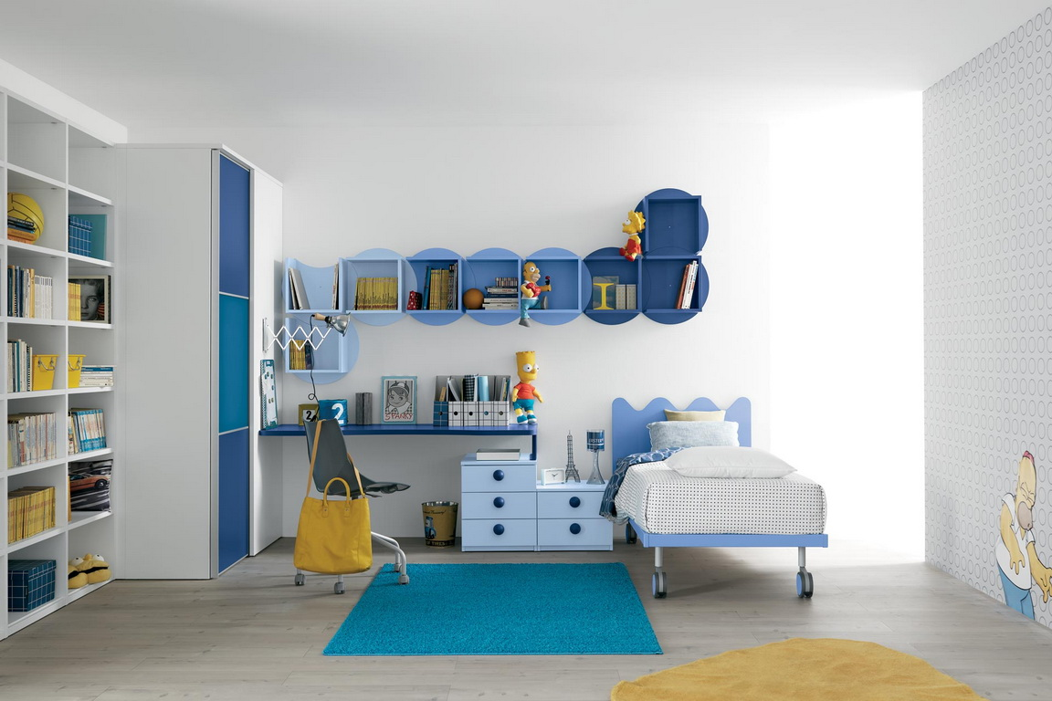 Comfort Room Study For Kids Design Ideas. Creative Room With Unique Design  And Blue Color Ornament And Comfort With Best Bed And Minimalist Furniture.