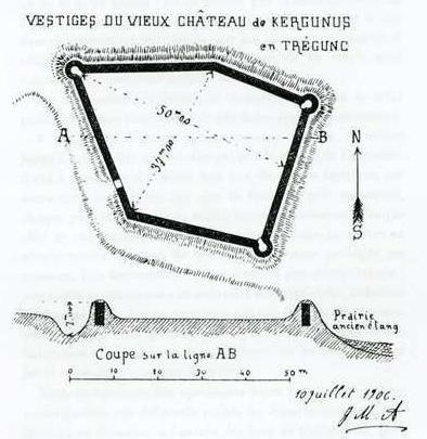 Plan du château de Kergunus.
