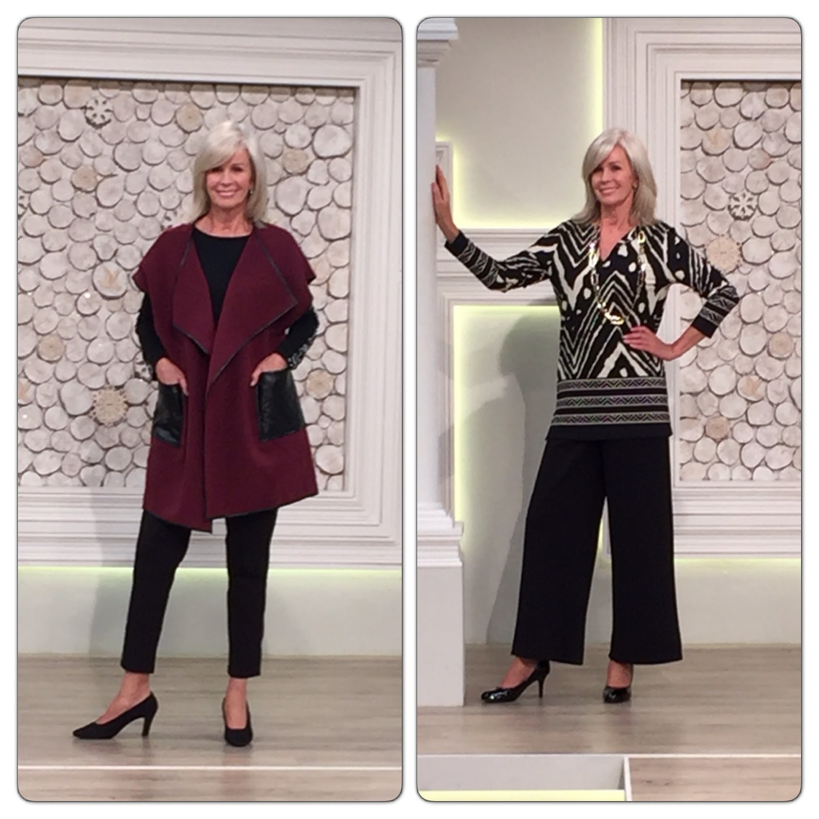 Nv nick verreosemiere on qvc uk lots of photos nick verreos model wearing nv nick verreos felt with faux leather trim poncho vest coat sequin trimmed sweater tuxedo ponte with faux leather outseam band pants ccuart Gallery