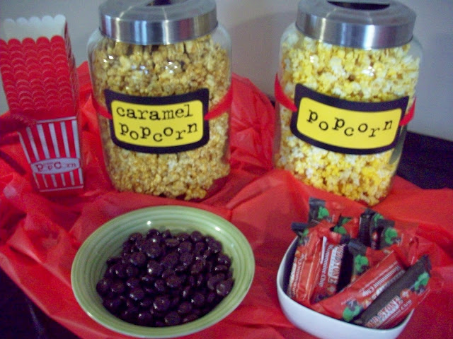 Decorations for my caramel popcorn and butter popcorn glass jars