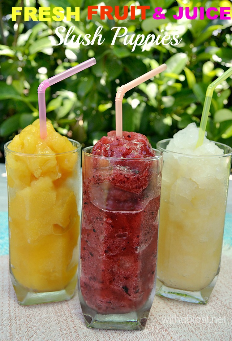 How to make your own (two ways) Fresh Fruit and Juice Slush Puppies at home - healthier & money saving