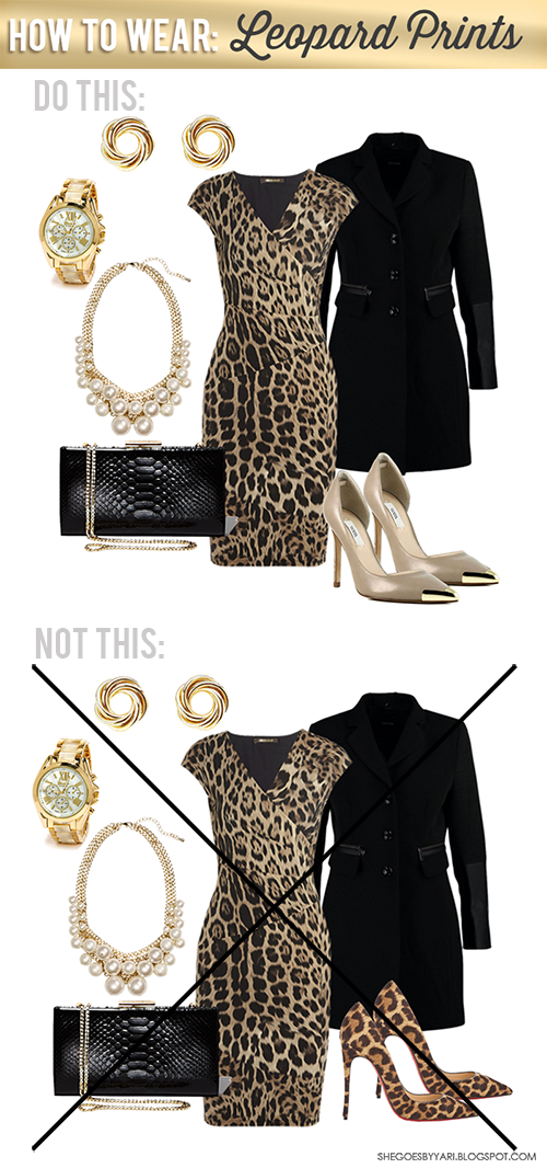Do this when wearing a leopard dress or anything with Leopard print! Outfit Combination. Perfection. From She Goes by Yari fashion and style blog.