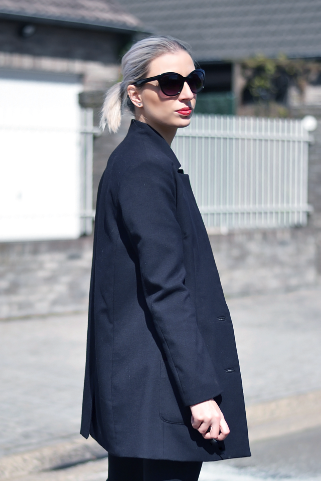 H&m Cat eye sunglasses, celine audrey knock off, inspired, h&m boyfriend, blazer, black, street style