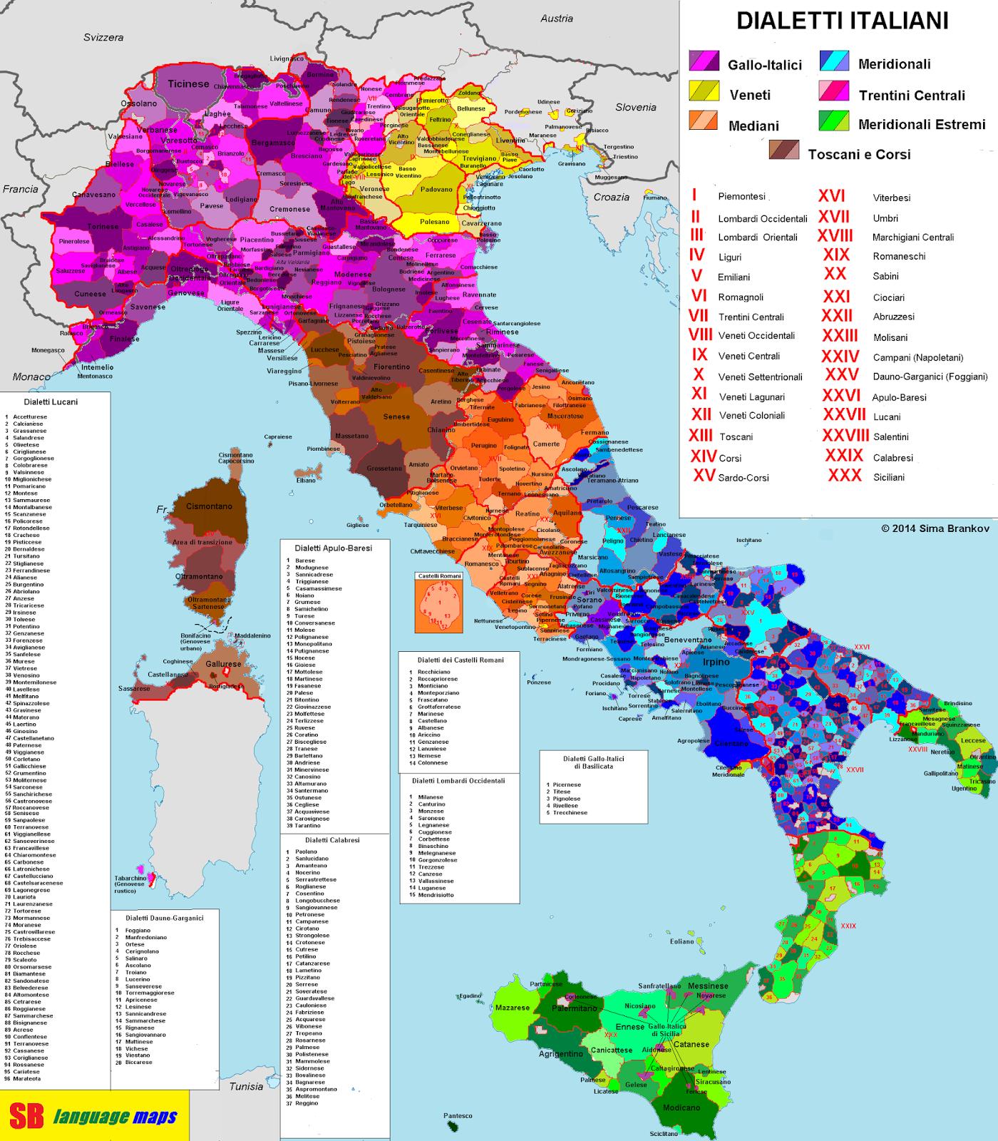 La veja la mappa dei dialetti italiani for Numero dei parlamentari italiani