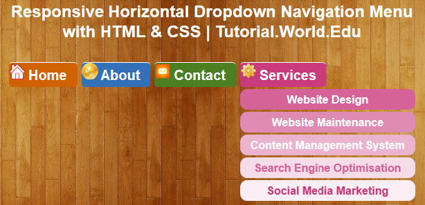 Tutorial: Create Responsive Horizontal Dropdown Navigation Menu with HTML & CSS