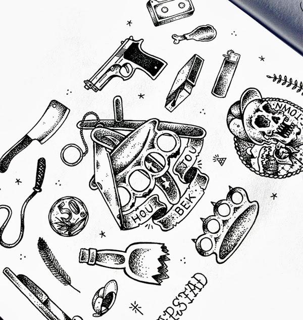 Tattoo removal gun and skull tattoo design