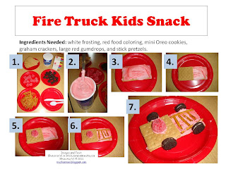 Fire Truck Snack for Preschool http://myshaenoel.blogspot.com/2011/04/all-things-wonderful-link-up-and-free.html