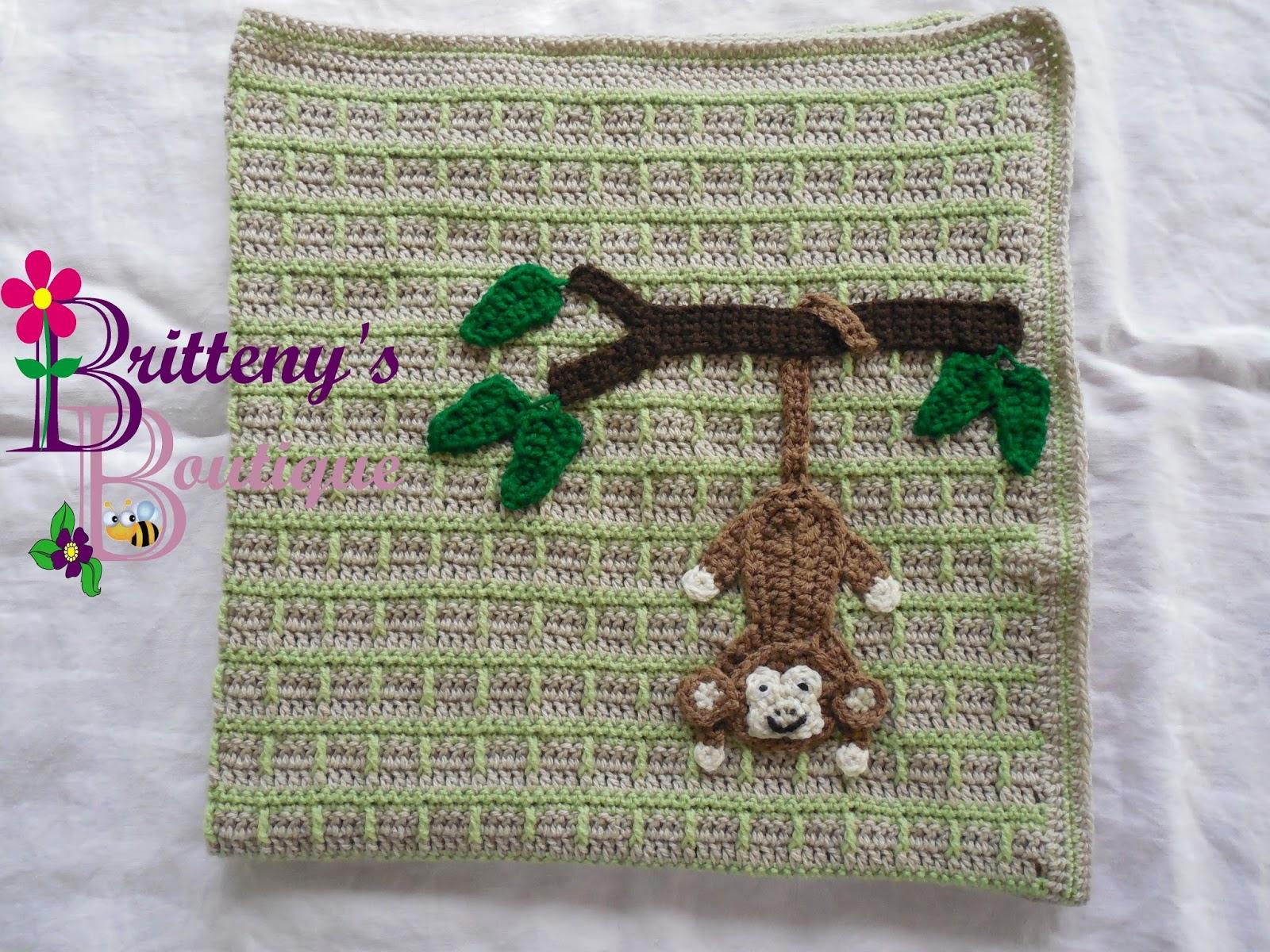 Crochet Baby Blanket Monkey Pattern : Britteny Off the HOOK!!: Swinging Monkey Baby Blanket ...