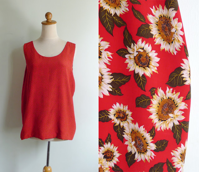 vintage 80's reversible tank top in polka dots & sunflower print